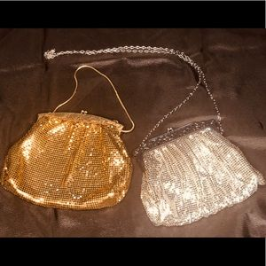Whiting&Davis vintage evening bags gold and silver
